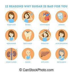 you., mucho, azúcar, malo, infographic, grande, por qué