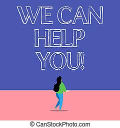 you., nous, bon, aide, offrande, texte, projection, friends., clients, signe, boîte, photo, conceptuel, ou, assistance