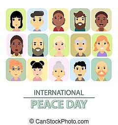 you., peace., tendance, débuts, calligraphy., international, mondiale, jour