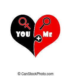 You Plus Me. Love. Black and Red Puzzle Heart