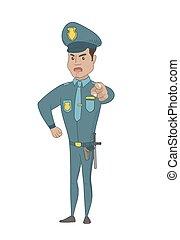you., police, pointage, hispanique, officier, sérieux