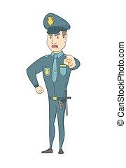 you., police, pointage, officier, sérieux, caucasien
