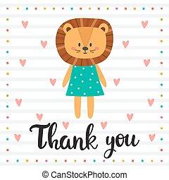 you., poster., ringraziare, carino, motivazionale, quote., mano, leone, inspirational, disegnato, lettering.
