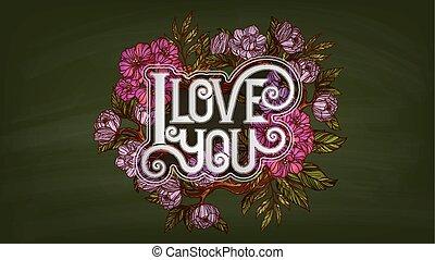 you., stile, amore, iscrizione, retro, decorato, fiori