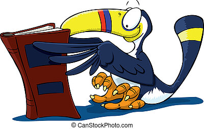 You Toucan Read - A cartoon toucan reading a novel, as only...
