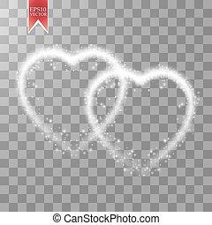 you., vecteur, amour, card., salutation, valentines, fond, deux, illustration, jour, arrière-plan., étoiles, lumière, cœurs, 14, february., vacances, transparent, heureux