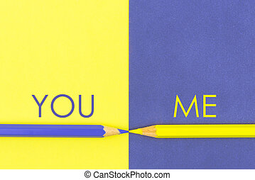 You versus Me contrast concept
