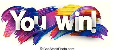 You win paper poster with colorful brush strokes.