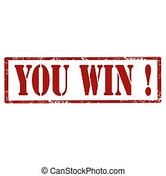 You Win!-stamp - Grunge rubber stamp with text You...