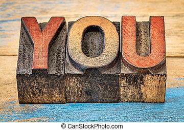 you word in letterpress wood type