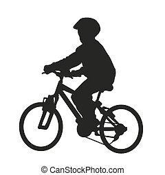 Youn boy on bike. Vector silhouette