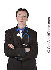 yound doctor standing up with his arms crossed