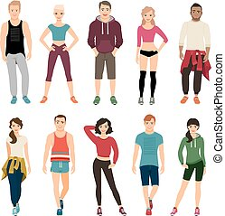 Yound people in sport outfits