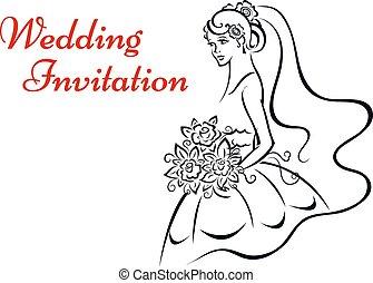 Younf bride in white dress - Wedding invitation design with...