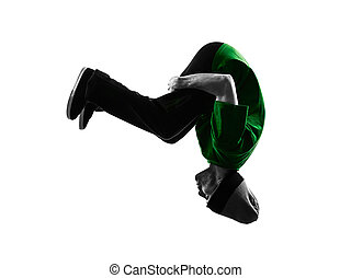 young acrobatic break dancer breakdancing man silhouette -...