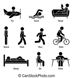 Young active cut out stick figure man flying, swimming, reading, standing, walking, going, running, riding, sleeping, sitting, writing vector illustration pictogram set on white
