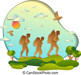 Young active family hiking to nature with grasslands and trees, father, mother and son. Vector illustration of beautiful summer scenic landscape, birds in the sky, holidays.