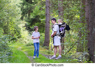 Young active father hiking with his school age son and baby ...