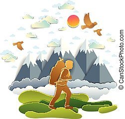 Young active man hiking to nature with mountain peaks in background, vector illustration of beautiful summer scenic mountain range landscape, birds in the sky, holidays.