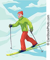 Young active man skiing in mountains.