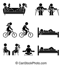 Young active stick figure male and female couple reading, writing, riding bicycle, sleeping, sitting, meditating vector illustration pictogram icon set on white