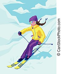 Young active woman skiing in mountains.