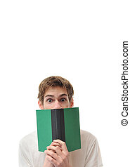 Young adult alert with book
