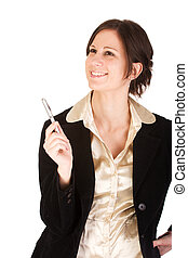 Young adult Caucasian businesswoman with ideas. Isolated