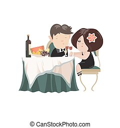 Young adult couple drinking red wine after romantic dinner together in elegant restaurant