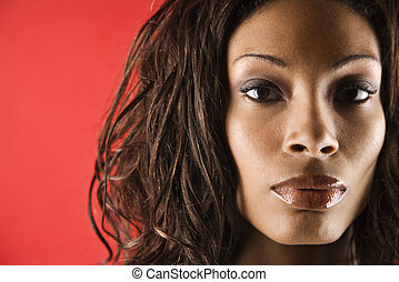 Young adult female portrait. - Young adult African American...