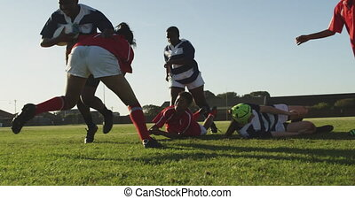 Young adult female rugby match - Front view of a group of ...