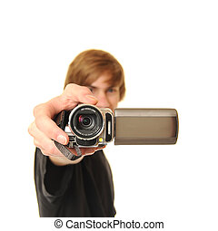 Young adult holding camcorder