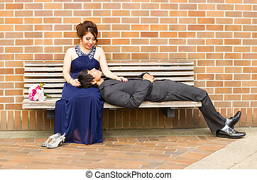 Young Adult Lover lying down with his mate