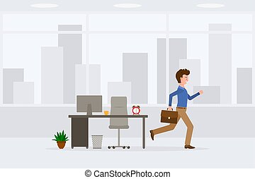 Young adult man in light brown pants running away from office at the end of day vector illustration. Fast moving forward, going home cartoon character
