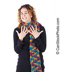 Young adult woman - Cute young adult caucasian woman curly...