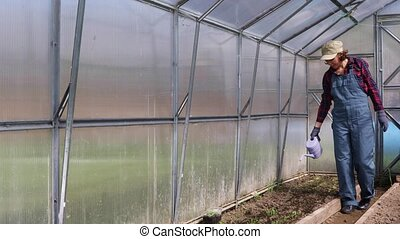 Young adult woman watering in greenhouse - Happy and ...