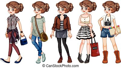 Young woman in different clothing style