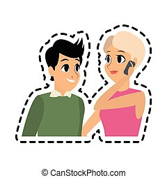 young adults having a conversation icon image