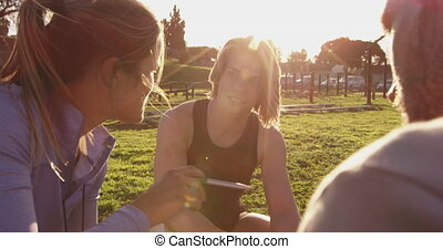 Young adults training at an outdoor gym bootcamp - Over the ...