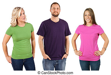 Photo of three young adults wearing different coloured blank t-shirts. Ready for your design or artwork.