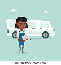 Young african-american baker delivering cakes.