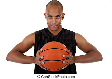 Young African American basketball player