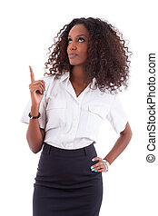 Young african american business woman showing something, isolated over white background - african people