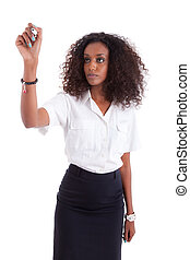Young African american business woman  writing something on glass board with marker