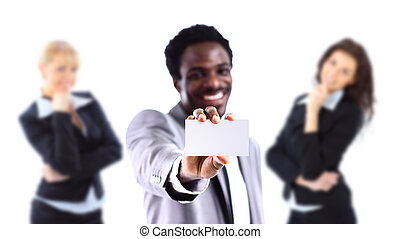 Young African American businessman holding a white business card