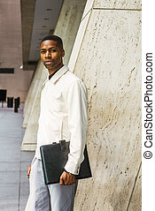 Young African American Businessman working in New York