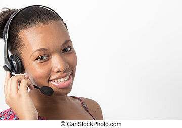 Young african american call center agent smiling