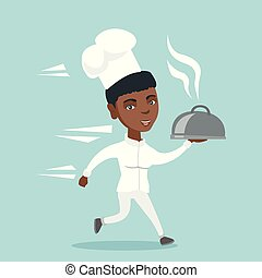Young african-american chef cook running with dish