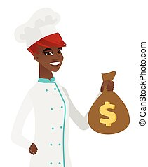 Young african-american chef holding a money bag.