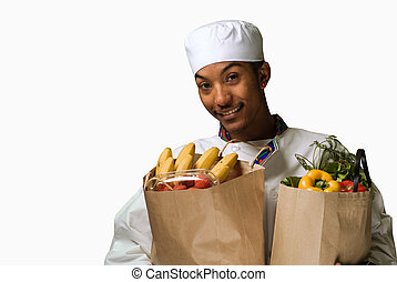 Young African American Chef with Groceries
